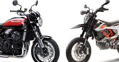 Kawasaki Z 900 RS und KTM 690 SMC.